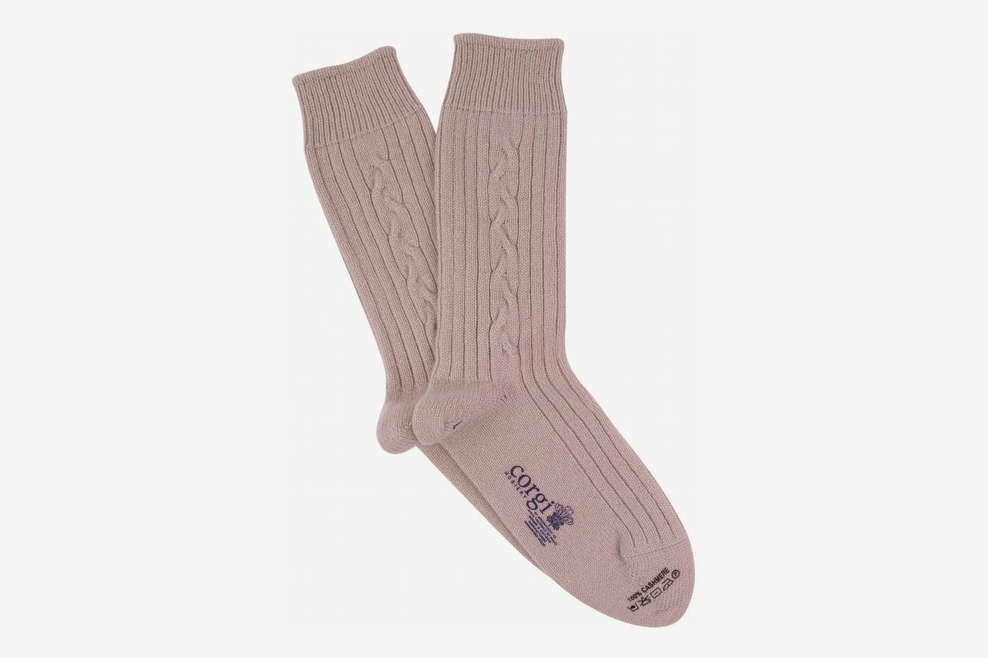 Corgi Men's Luxury Hand Knitted Cable Pure Cashmere Socks