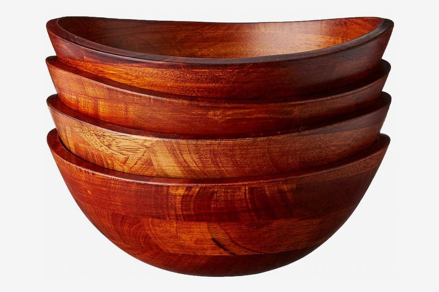 Lipper International Cherry Finished Wavy Rim Salad Bowls