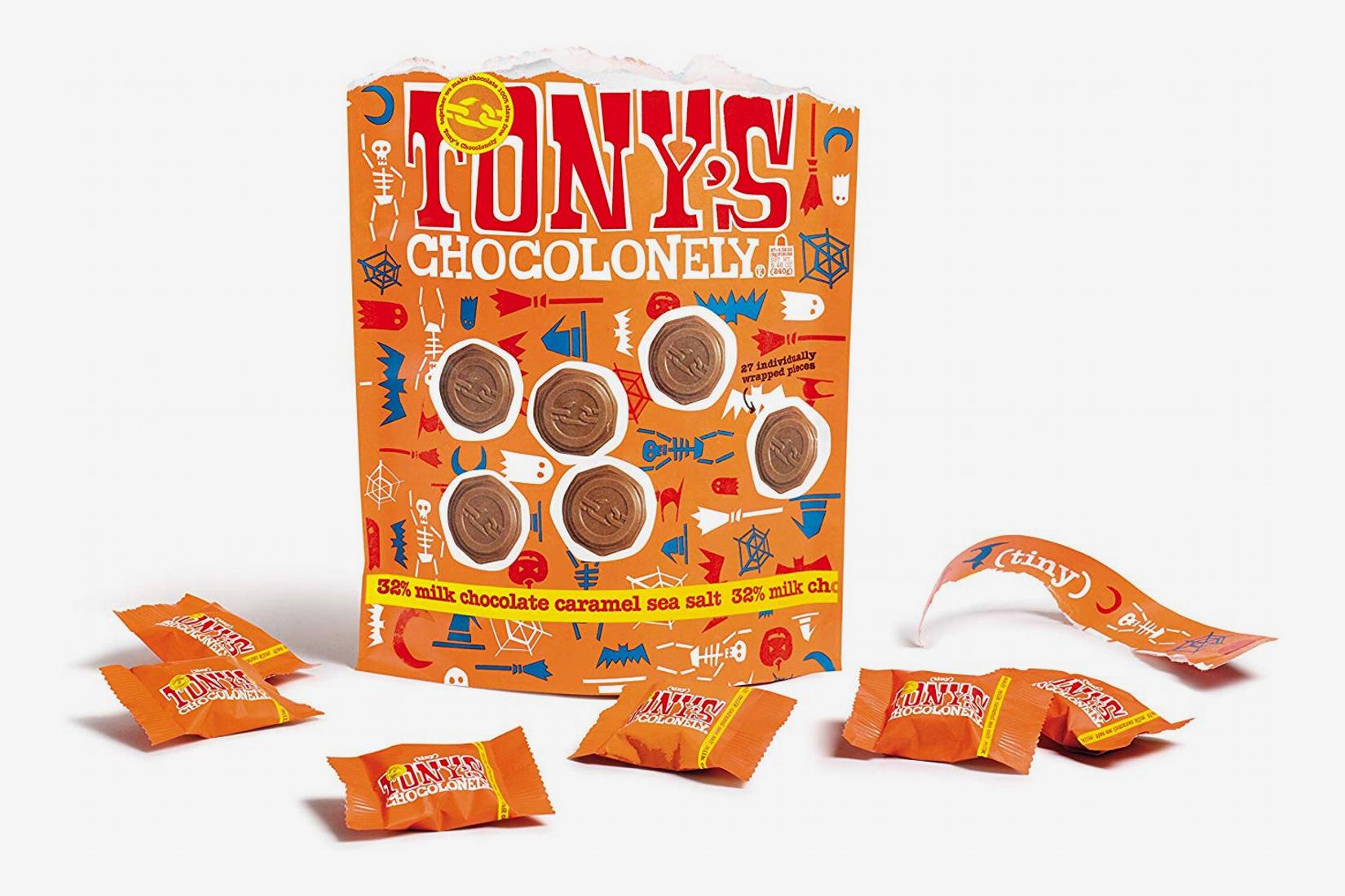 Tony's Chocolonely Tiny Tony's Halloween Milk Chocolate Sea Salt Caramel Bag