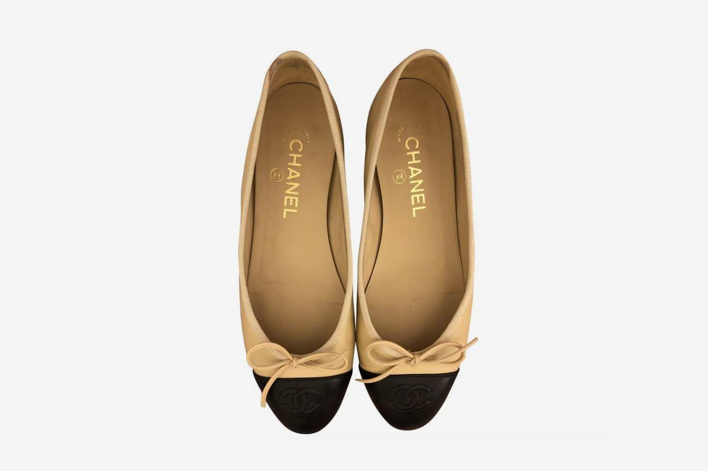 Chanel Ballerina Flats Beige and Patent Leather