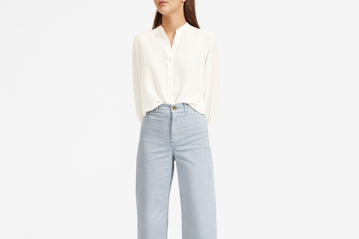Everlane Clean Silk Blouson Shirt