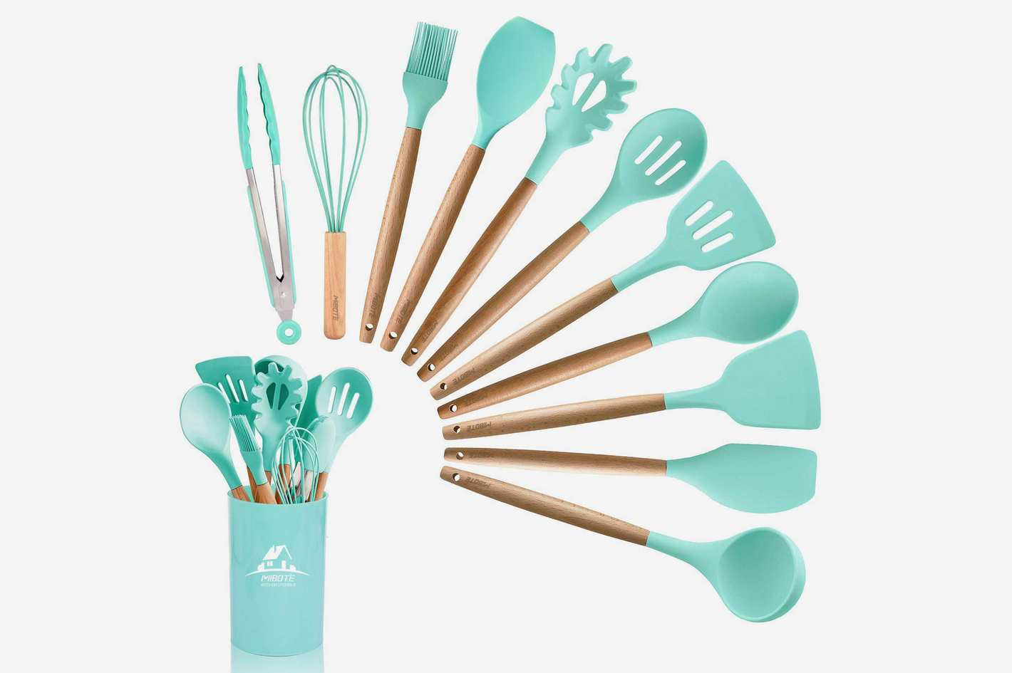MIBOTE 12 Pcs Silicone Cooking Kitchen Utensils Set With Holder