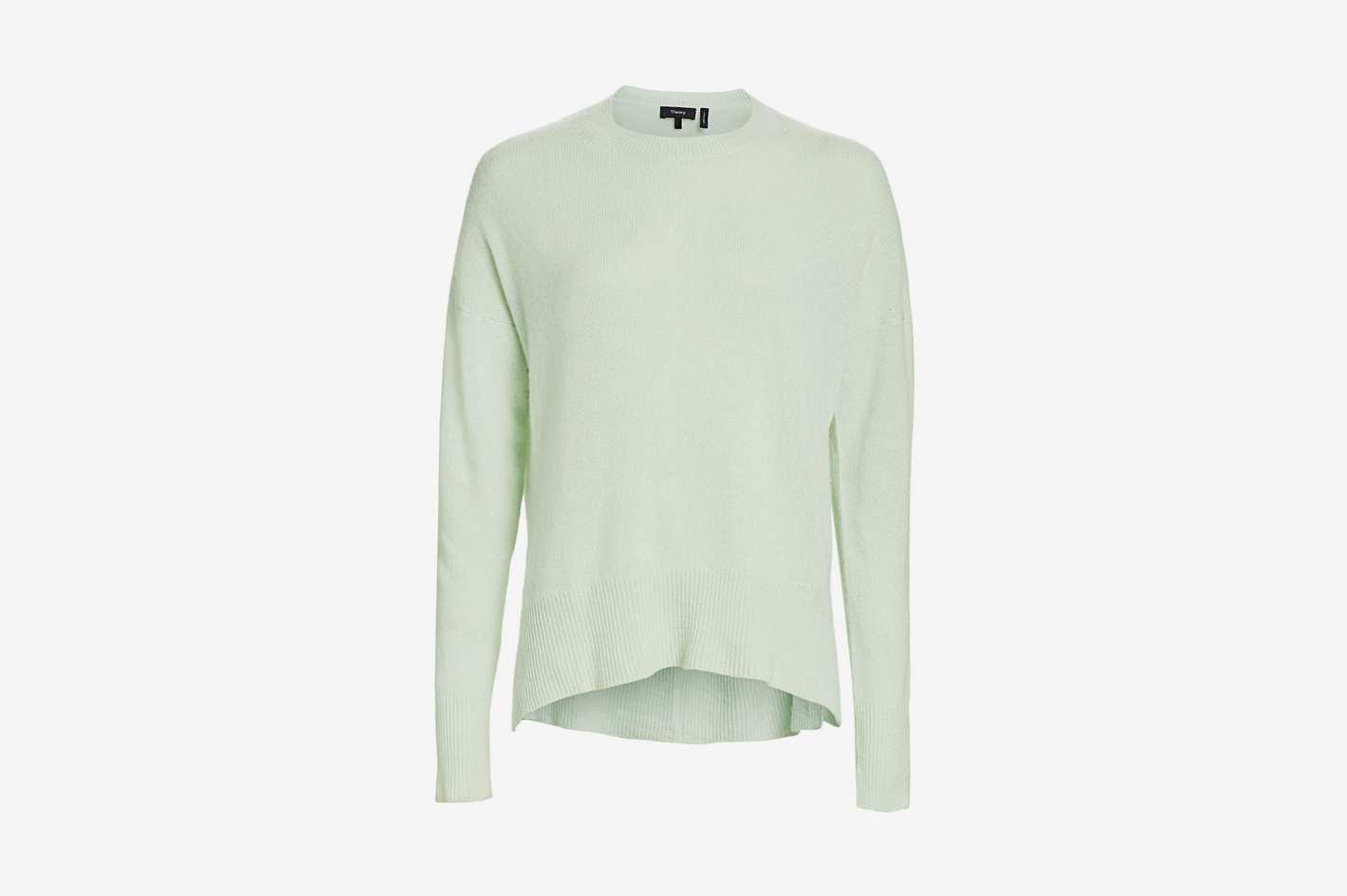 Theory Karenia Cashmere Knit Top, Opal Green