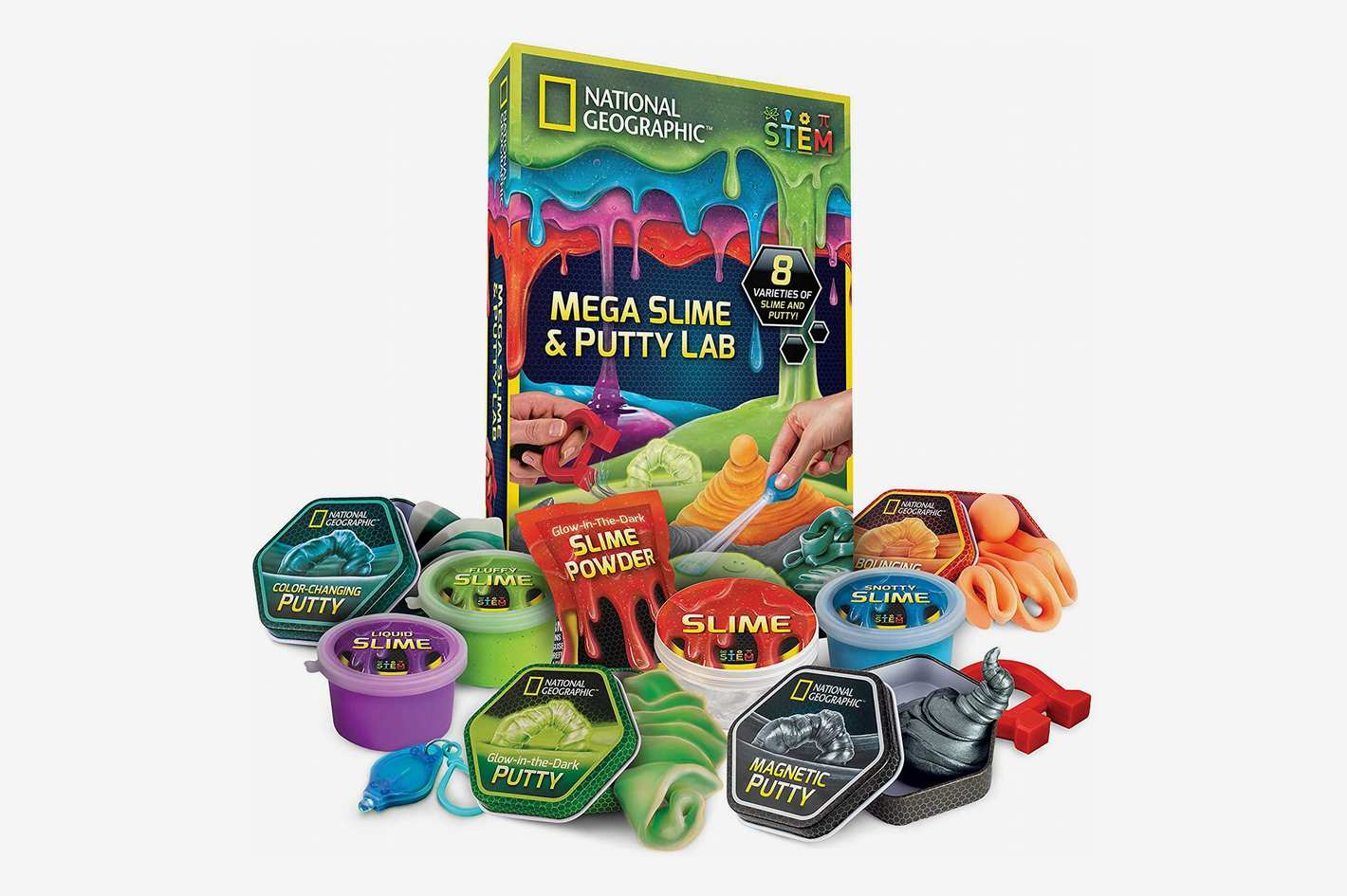 NATIONAL GEOGRAPHIC Mega Slime Kit & Putty Lab - 4 Types of Amazing Slime