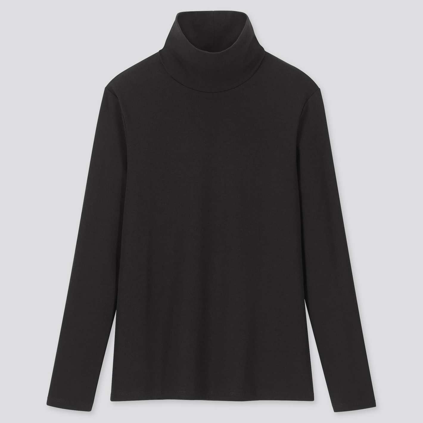 Uniqlo T-shirt à manches longues et col roulé en coton côtelé 1 * 1