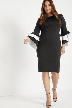 Eloquii Ruffle Flare Sleeve Dress