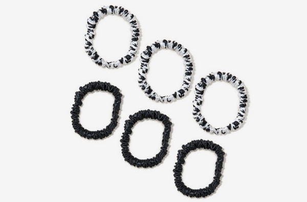 Slip Silk Scrunchies Skinnies - Black/Black & White Leopard Print (6 piece)