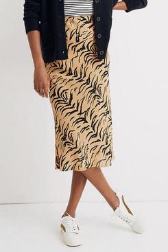 Madewell Silk Midi Slip Skirt in Tiger Stripe