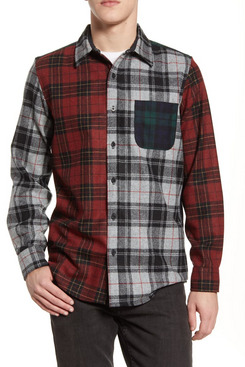 Pendleton Mixed Plaid Button-Up Wool Flannel Shirt