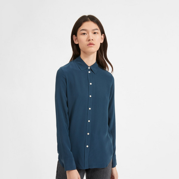Everlane Clean Silk Relaxed Shirt, Midnight