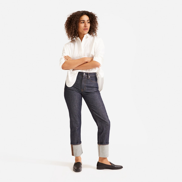 Everlane Super Straight Jean - Cuffed Dark Indigo