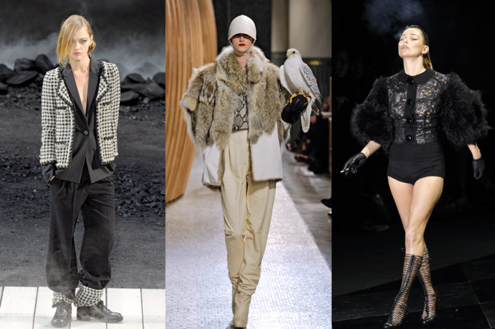 Left to right: Chanel, Hermés, Kate Moss at Louis Vuitton.