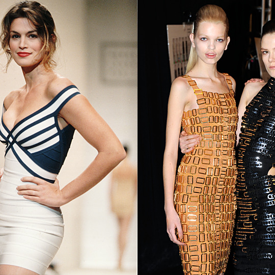 At left, Cindy Crawford walking Leger in 1993; at right, Daphne Groeneveld (left) and Caroline Brasch Nielsen backstage at the Hervé Léger show in February.