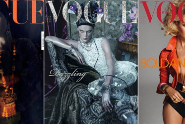 From left, the April, March, and February Italian <em>Vogue</em> covers.