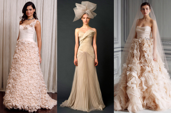 From left: new bridal looks from Badgley Mischka, Vera Wang, and Monique Lhuillier.