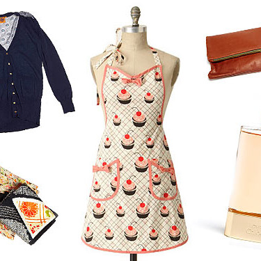 Clockwise from left: Jacy Cardigan by Tory Burch, Baker's Delight Apron, Foldover Clutch by Clare Vivier, Love, Chloé, and Antique Kimono Silk Scarves.