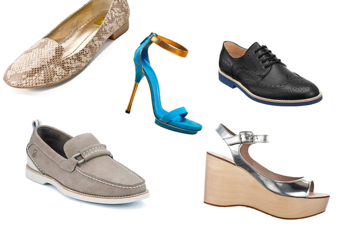 Clockwise, from left: Koko by dv Dolce Vita, Kelis Platform Sandal by Gucci, Wingtip Blucher by CO-OP Barneys New York, Silver Wedge by Belle by Sigerson Morrison, and Seaside Overlay by Sperry Top-Sider.
