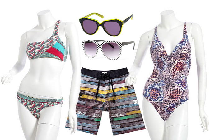 Clockwise from left: One-Shoulder Bandeau Bikini by Maaji, Number One by Karen Walker, Test Pattern Shades, Belle Fille Low Back One-Piece by Seventh Wonderland, and Woodshed Board Shorts by D.C.
