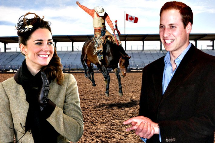 Kate and William hamming it up at the Canadian rodeo.