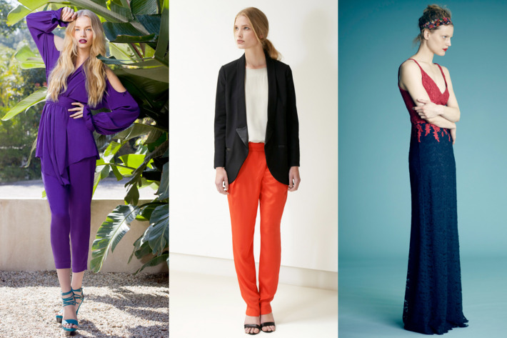 From left: new resort looks from Rachel Zoe, Tibi, and Erdem.
