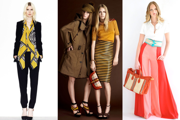 From left: new resort looks from DKNY, Burberry Prorsum, and Carlos Miele.