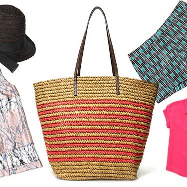 Clockwise from left: Black Fedora by Hat Attack Featuring Tuleste Market, Striped Farmers' Market Tote by J.Crew, Geometric Shorts by Gap, Paolo Top by Rebecca Minkoff, and Vanishing Splice Shirt Dress by ZIMMERMANN