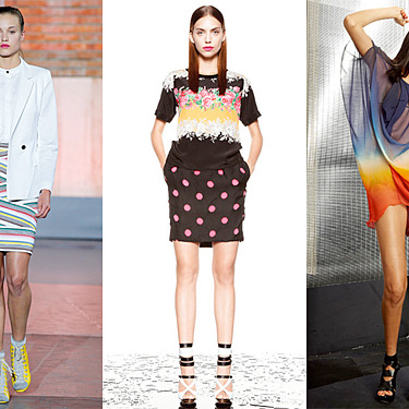 From left: new resort looks from Band of Outsiders, Prabal Gurung, and Nicole Miller.