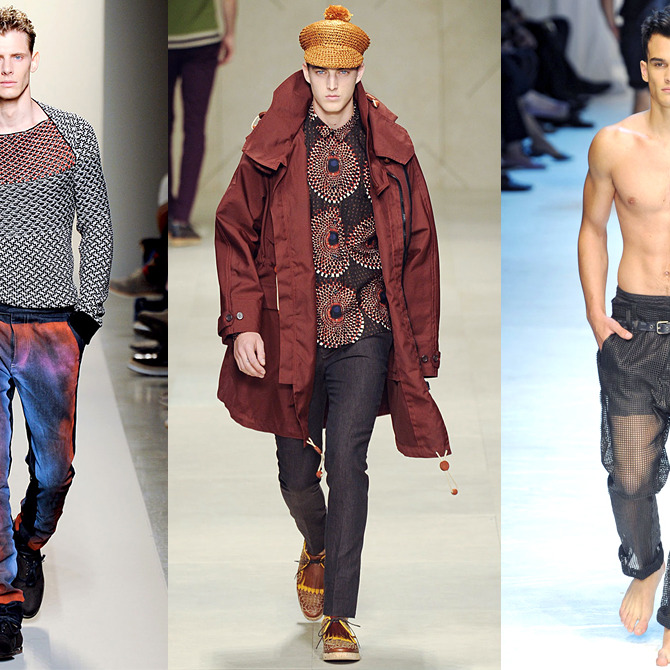From left: new menswear looks from Bottega Veneta, Burberry, and Dolce & Gabbana.