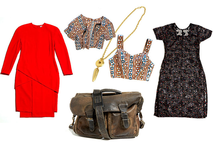 Clockwise from left: Gianni Versace Paneled Dress, Geometric Two-Piece Tank and Bolero Set, Avon Geo Pendant, Metallic Sheer Fan Dress, and Mini Distressed Brown Briefcase.