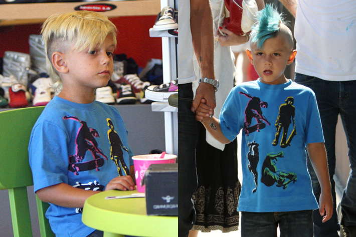 Gwen Stefani's little cherub before and after his blue dye job.