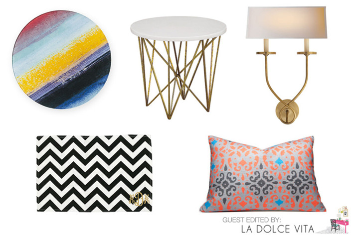 Clockwise from left: Decal Charger by DvF Home, George Side Table, Symmetric Twist Sconce, Linden Pillow by Hammocks and High Tea, and Chevron Place Mat.