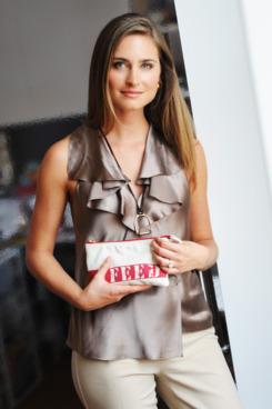 Lauren Bush with her FEED 15 bag.