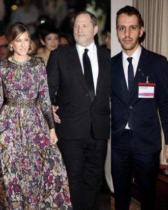 Former Halston-ers Sarah Jessica Parker, Harvey Weinstein, and Marios Schwab.