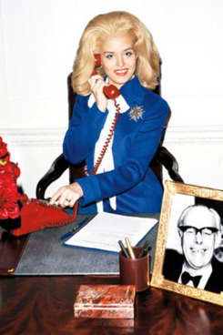 Georgia May Jagger as Margaret Thatcher, shot by Terry Richardson for <em>Harper's Bazaar</em>.