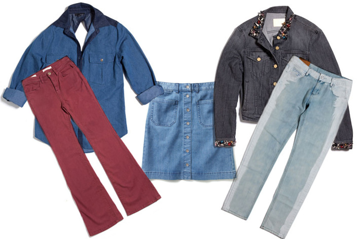 Clockwise from left: Moody Blue Shirt by Lakdah, Mini Studs Jacket by ACNE, Rock & Roll Paint Splattered Jeans by JNBY, Halli Denim Skirt by Club Monaco, and High-Rise Flared Jeans by Silence & Noise.