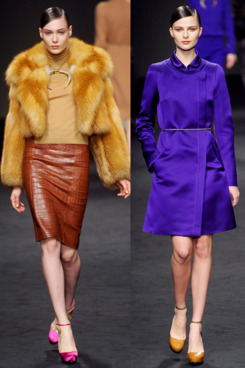 Two looks from Brioni's fall 2011 collection.