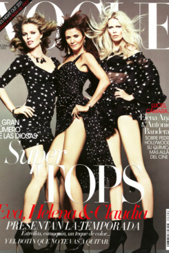 Eva Herzigova, Helena Christensen, and Claudia Schiffer on <em>Vogue</em> Spain.
