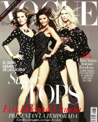 Eva Herzigova, Helena Christensen, and Claudia Schiffer on <em>Vogue</em> Spain.