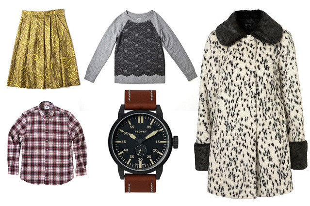Clockwise from left: Swirls Pleated Skirt by Tibi, Lace Sweatshirt by LOFT, Contrast Dalmation Swing Coat by Topshop, TSOVET Watch, and Plaid Herringbone Button-Down by Odin New York.