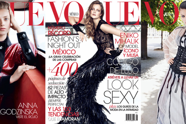From left: Anna Jagodzinska, Eniko Mihalik, and Isabeli Fontana on the September covers of <em>Vogue</em> Mexico.