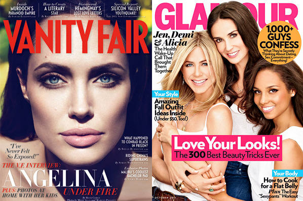 Angelina Jolie's face gets <em>Vanity Fair</em> all to itself, while Jennifer Aniston shares <em>Glamour</em> with Demi Moore and Alicia Keys.