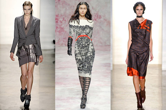 Fall 2011 looks from left: Ohne Title, Prabal Gurung, and Sophie Theallet.