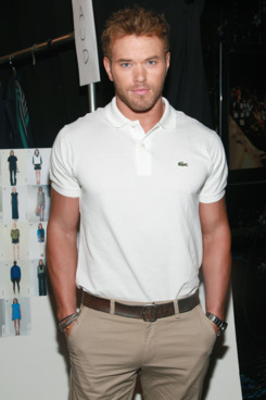 Kellan Lutz backstage at Lacoste.