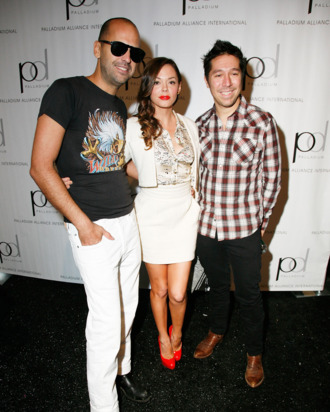 Rose McGowan with Ruffian's Brian Wolk and Claude Morais.