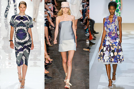 From left: New spring looks from Derek Lam, Victoria Beckham, and Diane Von Furstenberg.