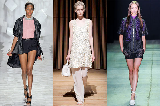 From left: spring looks from Jason Wu, The Row, and Alexander Wang.
