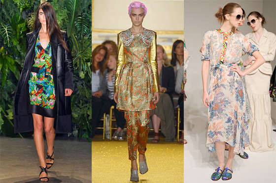From left: Spring looks from Altuzarra, Thakoon, and Duro Olowu.