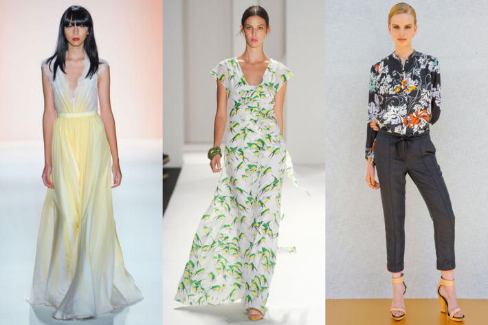 From left: spring looks from Jenny Packham, Carolina Herrera, and Rachel Roy