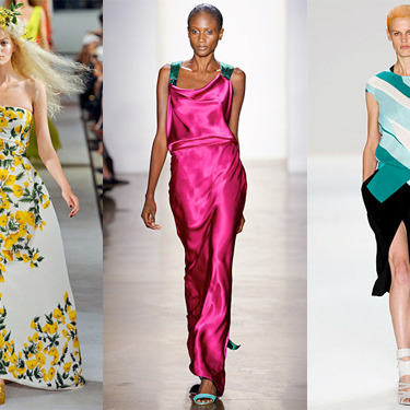 From left: new spring looks from Oscar de la Renta, Sophie Theallet, and Narciso Rodriguez.