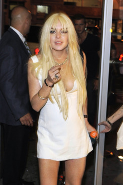 Lindsay Lohan at last night's Nine West party.